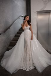 Wedding dresses Opal Collection  Gloss  Silhouette  Fitted  A Line  Color  Blush  Ivory  Neckline  Sweetheart  Sleeves  Wide straps  Train  Detachable train - foto 3