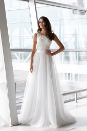 Wedding dresses Viola Collection  Gloss  Silhouette  Sheath  Color  Ivory  Neckline  Bateau (Boat Neck)  Sleeves  Wide straps  Train  With train - foto 2