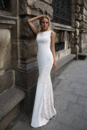 Wedding dresses Eden Collection  Supreme Classic  Silhouette  Fitted  Color  Cappuccino  Ivory  Neckline  Scoop  Sleeves  Wide straps  Train  With train - foto 2