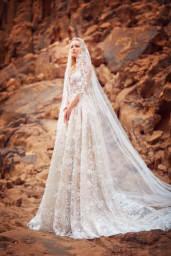 Suknie ślubne Liliana Kolekcja  Voyage  Sylwetka  Balowa suknia   Kolor  Capuccino  Kremowy  Dekolt  Dekolt w kształcie serca  Iluzja  Rękawy  Długi  Dopasowany  Flex  Z trenem - foto 4