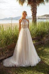Wedding dresses Angela Silhouette  A Line  Color  Ivory-blush  Neckline  Halter  Sleeves  Sleeveless  Train  With train - foto 7