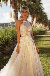 Wedding dresses Angela Silhouette  A Line  Color  Ivory-blush  Neckline  Halter  Sleeves  Sleeveless  Train  With train - foto 6