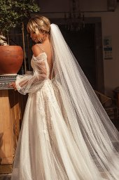Wedding dresses Cecil Silhouette  A Line  Color  Ivory-blush  Neckline  Sweetheart  Sleeves  Detachable  Train  With train - foto 2