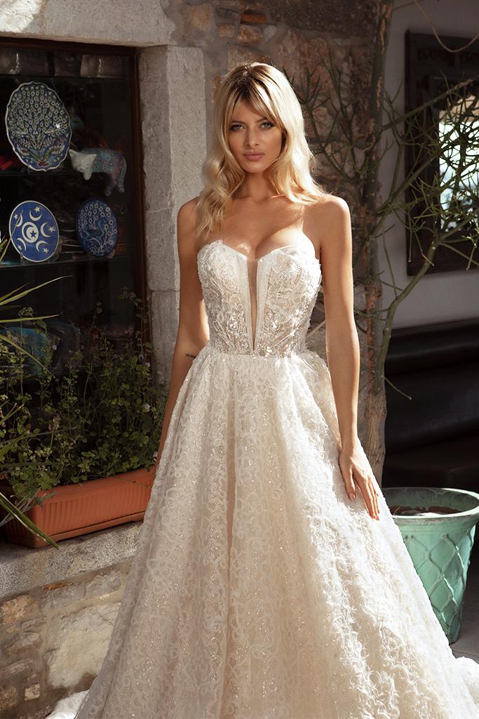 Wedding dresses Faith Silhouette  A Line  Color  Ivory-blush  Neckline  Sweetheart  Sleeves  Detachable  Train  With train - foto 3