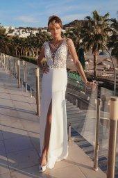Wedding dresses Grayson Silhouette  Sheath  Color  Ivory  Neckline  Portrait (V-neck)  Sleeves  Wide straps  Train  With train - foto 2