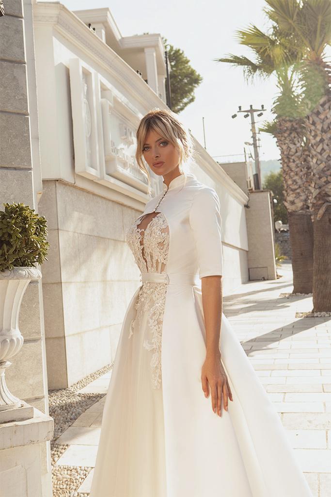 Brautkleider Madison with cape  Silhouette  A-Silhouette  Farbe  Pudrig  Cremeweiß   Ausschnitt  rund  Ärmel  ärmellos  Schweif   Kap  Mit Schleppe - foto 2