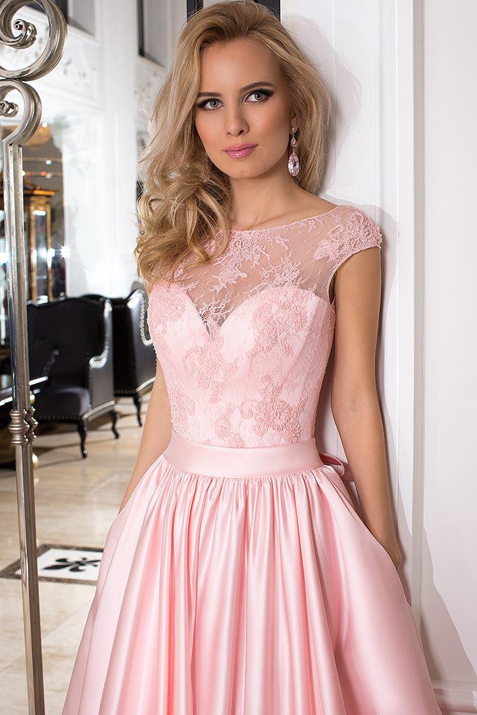Sukienki Wieczorowe 993 Sylwetka  Balowa suknia   Kolor  Różowy  Dekolt  Dekolt w kształcie serca  Iluzja  Rękawy  Szerokie ramiączka  Flex  Bez trenu - foto 3