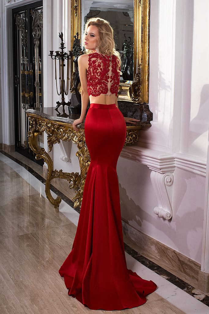 Evening Dresses 1033-2 Silhouette  Fitted  Color  Red  Neckline  Bateau (Boat Neck)  Sleeves  Wide straps  Train  With train - foto 3