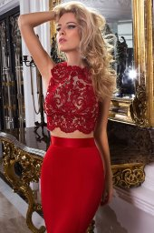 Evening Dresses 1033-2 Silhouette  Fitted  Color  Red  Neckline  Bateau (Boat Neck)  Sleeves  Wide straps  Train  With train - foto 2