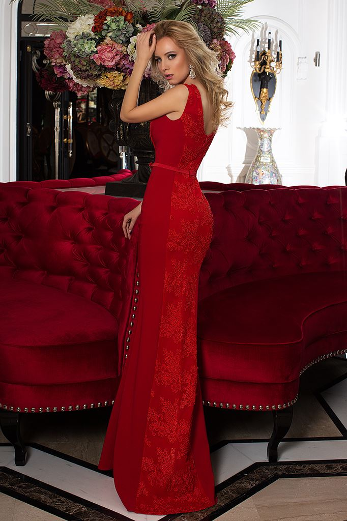Evening Dresses 753-2 Silhouette  Fitted  Color  Red  Neckline  Bateau (Boat Neck)  Sleeves  Wide straps  Train  No train - foto 3