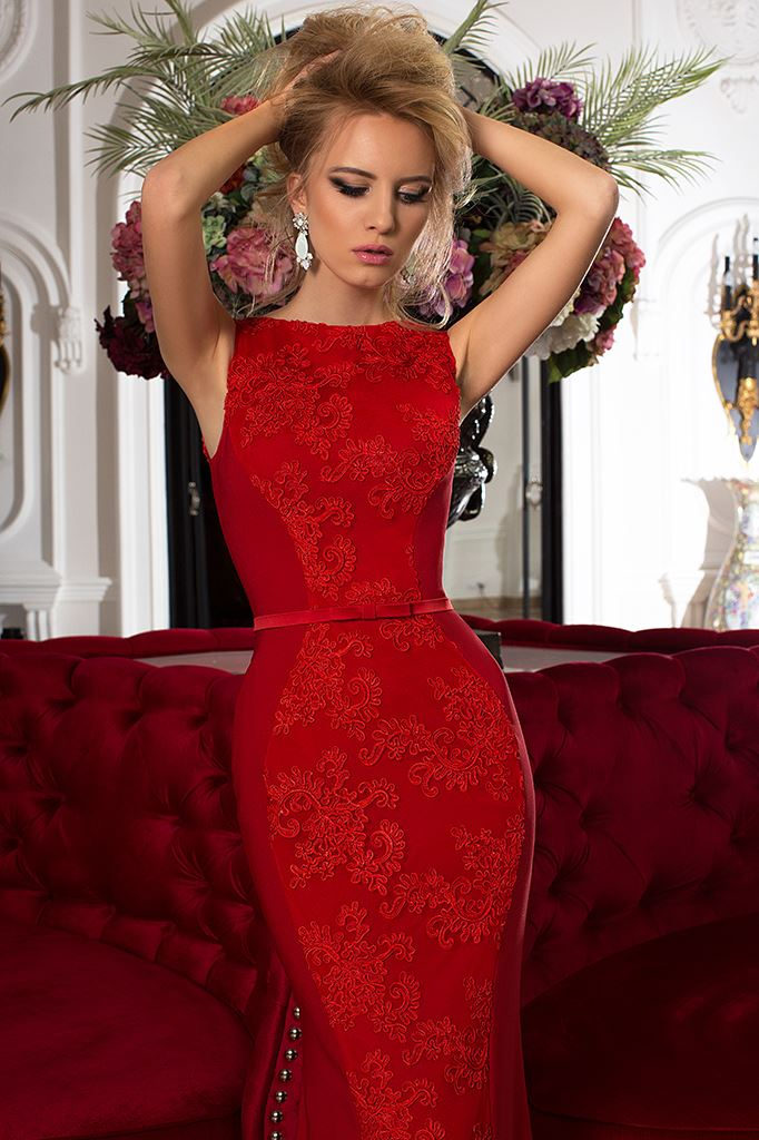 Evening Dresses 753-2 Silhouette  Fitted  Color  Red  Neckline  Bateau (Boat Neck)  Sleeves  Wide straps  Train  No train - foto 2