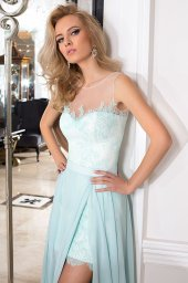 Evening Dresses 1027 Silhouette  A Line  Color  Green  Ivory  Neckline  Straight  Sleeves  Sleeveless  Train  No train - foto 5