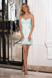 Evening Dresses 1027 Silhouette  A Line  Color  Green  Ivory  Neckline  Straight  Sleeves  Sleeveless  Train  No train - foto 4