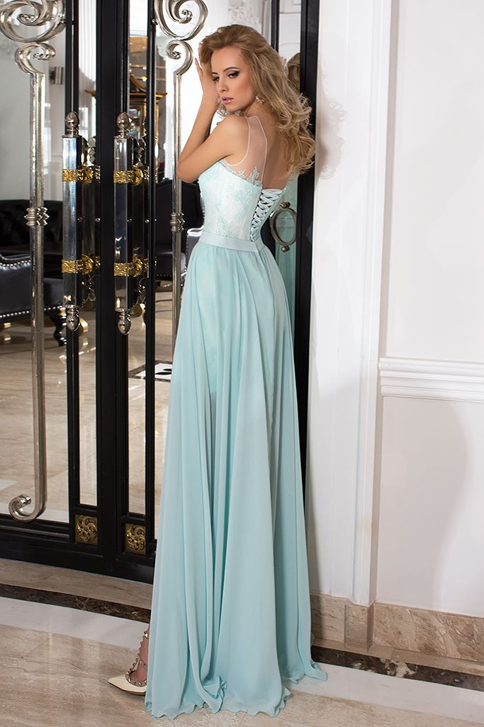 Evening Dresses 1027 Silhouette  A Line  Color  Green  Ivory  Neckline  Straight  Sleeves  Sleeveless  Train  No train - foto 3