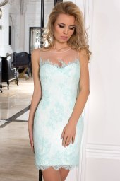 Evening Dresses 1027 Silhouette  A Line  Color  Green  Ivory  Neckline  Straight  Sleeves  Sleeveless  Train  No train - foto 2