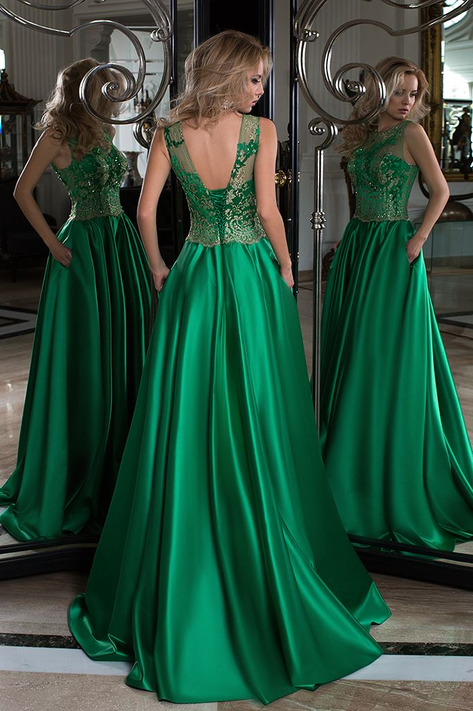 Evening Dresses 1010-1 Silhouette  A Line  Color  Green  Neckline  Bateau (Boat Neck)  Sleeves  Wide straps  Train  No train - foto 3