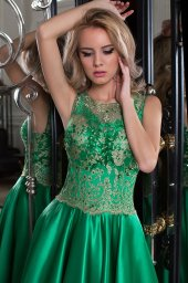 Evening Dresses 1010-1 Silhouette  A Line  Color  Green  Neckline  Bateau (Boat Neck)  Sleeves  Wide straps  Train  No train - foto 2