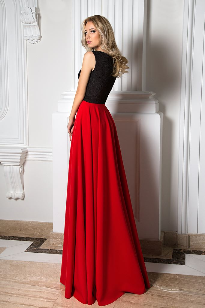 Abendkleider 1037 Silhouette  A-Silhouette  Farbe  Black  Red - foto 2