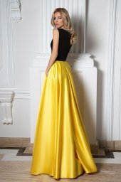 Evening Dresses 1091 Silhouette  A Line  Color  Yellow  Black  Neckline  Portrait (V-neck)  Sleeves  Wide straps  Train  No train - foto 3