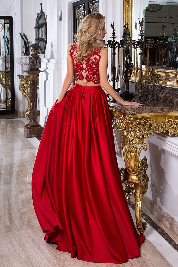 Evening Dresses 1033-1 Silhouette  A Line  Color  Red  Neckline  Bateau (Boat Neck)  Sleeves  Wide straps  Train  With train - foto 3