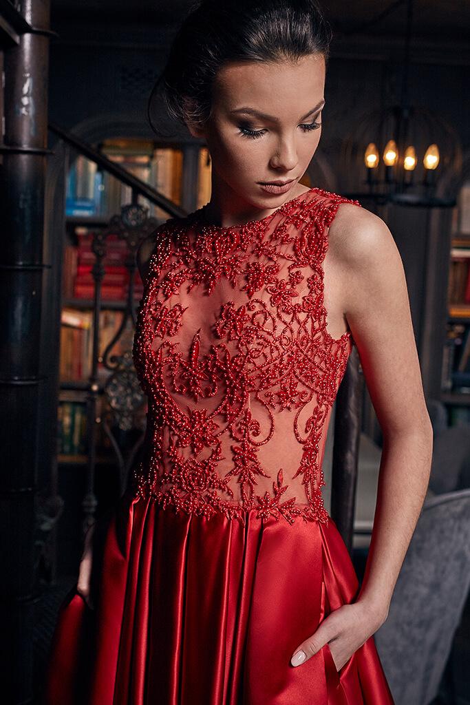 Sukienki Wieczorowe 1235 Sylwetka  Balowa suknia   Kolor  Red  Dekolt  Dekolt w łódkę  Rękawy  Szerokie ramiączka  Flex  Bez trenu - foto 2