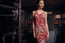 Evening Dresses 1237 Silhouette  Fitted  Color  Red  Neckline  Illusion  Sleeves  Wide straps  One Shoulder  Train  No train - foto 2