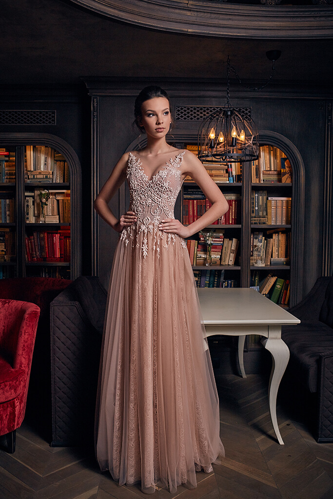 Evening Dresses 1239 Silhouette  A Line  Color  Nude  Green  Neckline  Sweetheart  Sleeves  Wide straps  Off the Shoulder Sleeves  Train  With train - foto 5