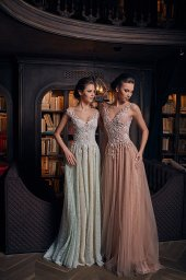 Evening Dresses 1239 Silhouette  A Line  Color  Nude  Green  Neckline  Sweetheart  Sleeves  Wide straps  Off the Shoulder Sleeves  Train  With train - foto 2