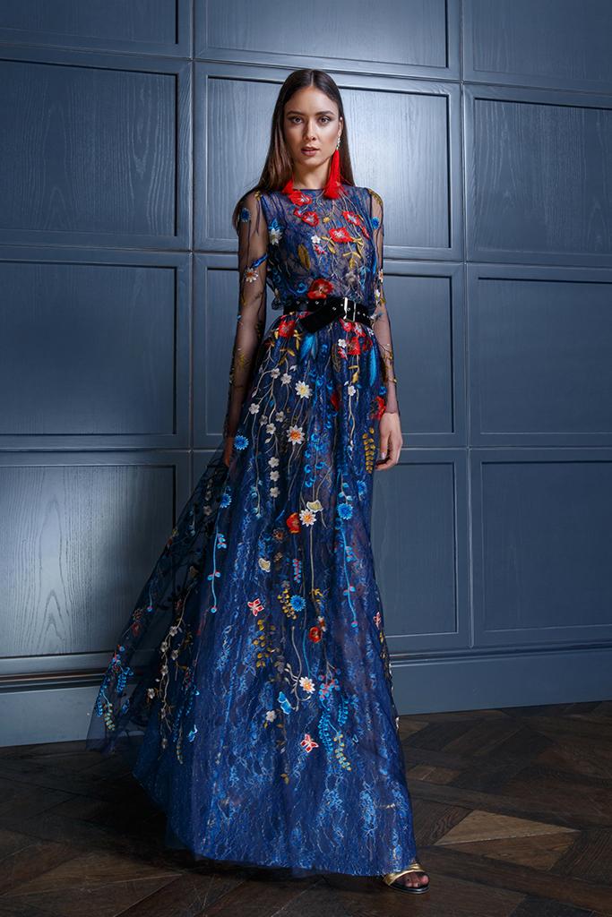 Abendkleider 1349 Silhouette  A-Silhouette  Farbe  Bunt   Blau   Ausschnitt  Bato (Boot)  Ärmel  lange Ärmel  talliert  Schweif  Ohne Schleppe - foto 3