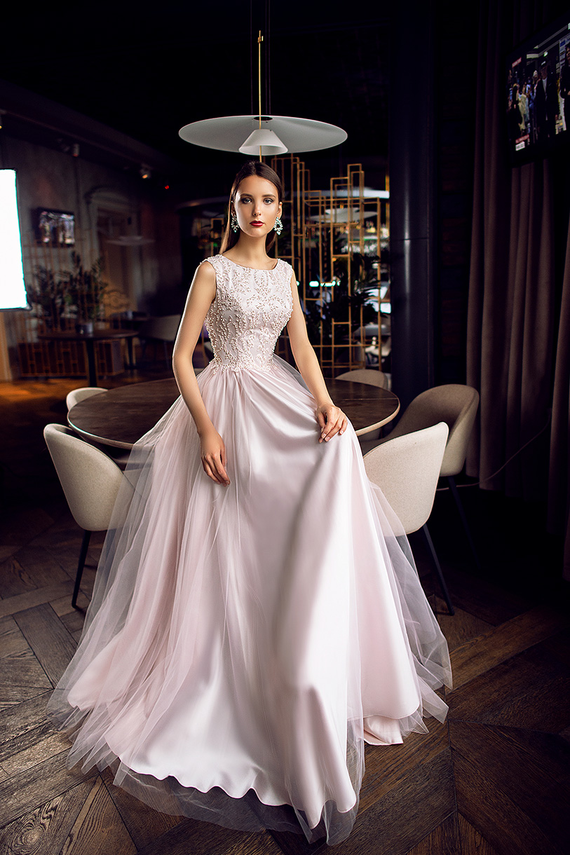 Evening Dresses 1123 Silhouette  A Line  Color  Pink  Neckline  Jewel  Sleeves  Wide straps  Train  No train - foto 2