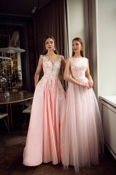 Evening Dresses 1123 Silhouette  A Line  Color  Pink  Neckline  Jewel  Sleeves  Wide straps  Train  No train - foto 5
