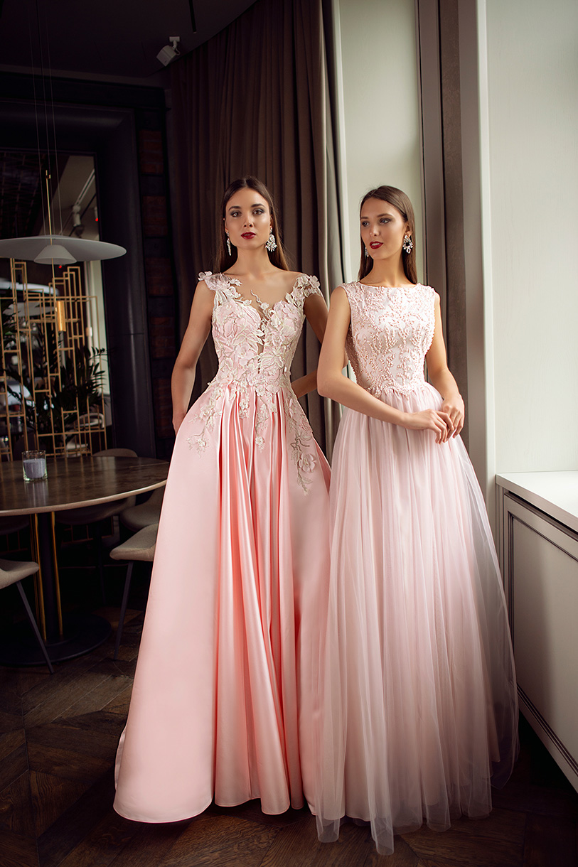Evening Dresses 1398 Silhouette  A Line  Color  Pink  Neckline  Portrait (V-neck)  Sleeves  Wide straps  Train  With train - foto 7