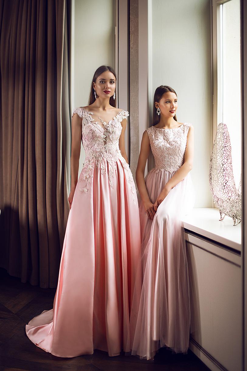 Evening Dresses 1398 Silhouette  A Line  Color  Pink  Neckline  Portrait (V-neck)  Sleeves  Wide straps  Train  With train - foto 6