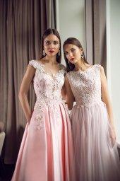 Evening Dresses 1398 Silhouette  A Line  Color  Pink  Neckline  Portrait (V-neck)  Sleeves  Wide straps  Train  With train - foto 5