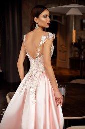 Evening Dresses 1398 Silhouette  A Line  Color  Pink  Neckline  Portrait (V-neck)  Sleeves  Wide straps  Train  With train - foto 4