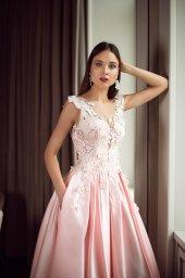 Evening Dresses 1398 Silhouette  A Line  Color  Pink  Neckline  Portrait (V-neck)  Sleeves  Wide straps  Train  With train - foto 3
