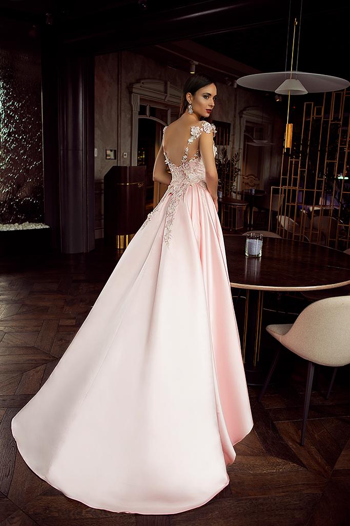 Evening Dresses 1398 Silhouette  A Line  Color  Pink  Neckline  Portrait (V-neck)  Sleeves  Wide straps  Train  With train - foto 2