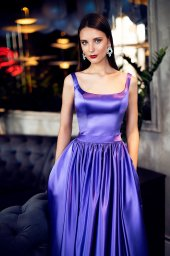 Evening Dresses 1421 Silhouette  A Line  Color  Violet  Neckline  Straight  Sleeves  Wide straps  Train  No train - foto 2