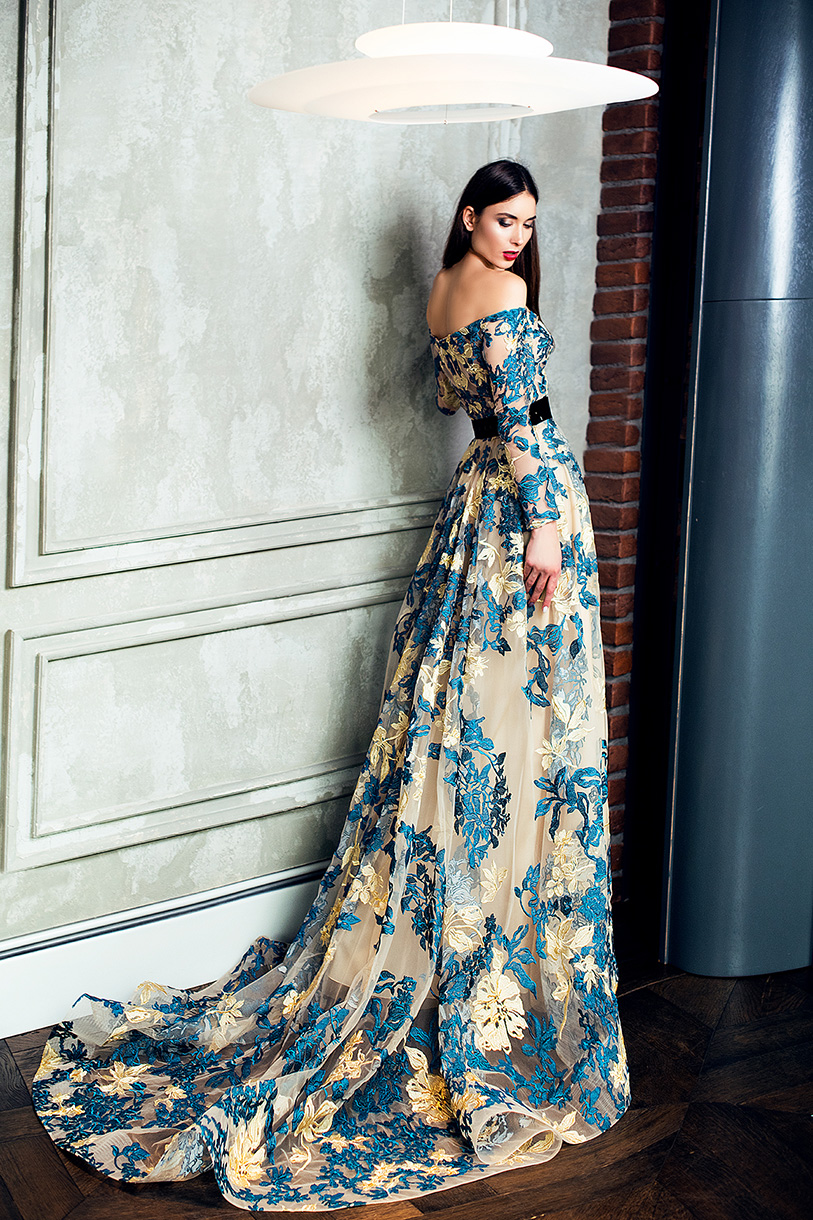 Evening Dresses 1366 Silhouette  A Line  Color  Multi  Neckline  Straight  Sleeves  Off the Shoulder Sleeves  Long Sleeves  Train  With train - foto 3