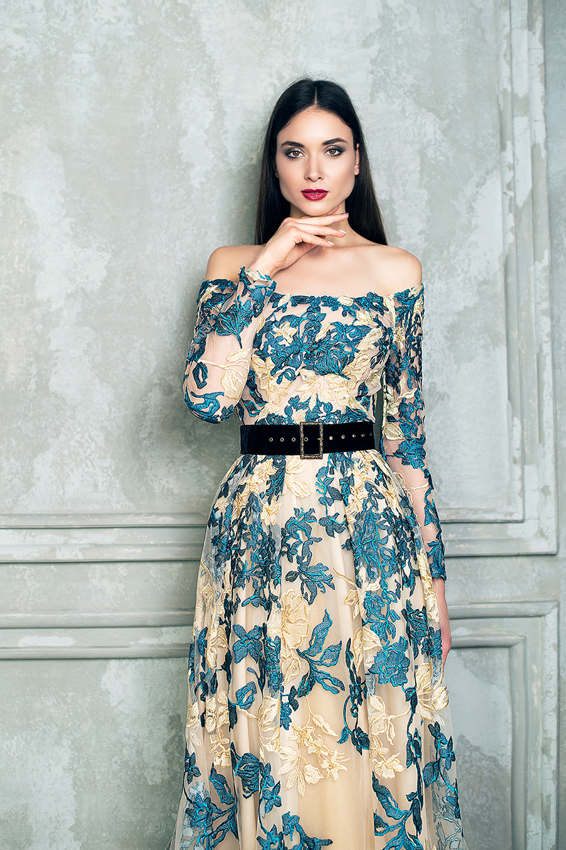 Evening Dresses 1366 Silhouette  A Line  Color  Multi  Neckline  Straight  Sleeves  Off the Shoulder Sleeves  Long Sleeves  Train  With train - foto 4