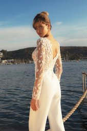 Wedding dresses Sandy Color  Ivory  Neckline  Scoop  Sleeves  Long Sleeves  Train  With train - foto 3