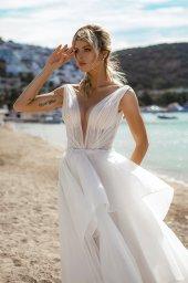 Wedding dresses Serena Silhouette  A Line  Color  Ivory-blush  Neckline  Portrait (V-neck)  Sleeves  Wide straps  Train  With train - foto 4