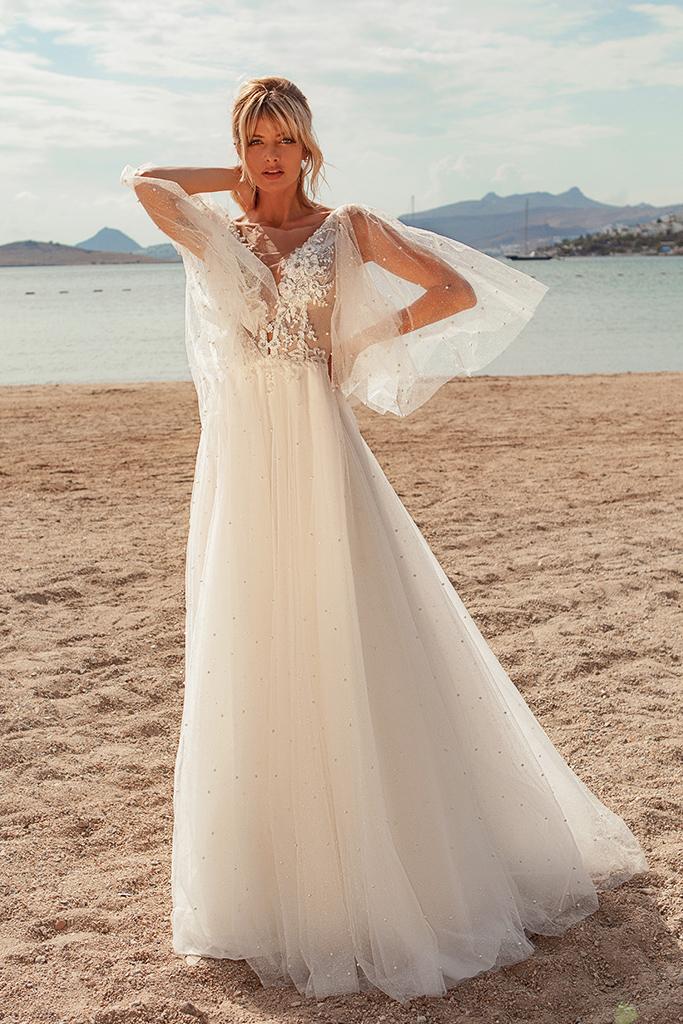 Wedding dresses Yuna Silhouette  A Line  Color  Ivory-blush  Neckline  Portrait (V-neck)  Sleeves  Detachable  Wide straps  Train  With train - foto 2