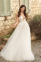 Wedding dresses Emilia Silhouette  A Line  Color  Ivory-blush  Neckline  Scoop  Sleeves  Strapless  Train  With train - foto 2
