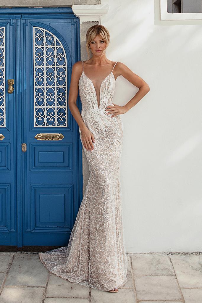Свадебные платья Meredith-1 Цвет  Пудровый  Кремовиый - Фото 2