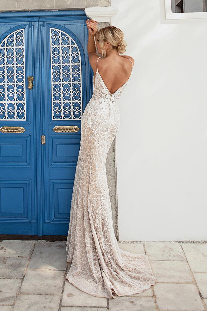 Свадебные платья Meredith-1 Цвет  Пудровый  Кремовиый - Фото 3