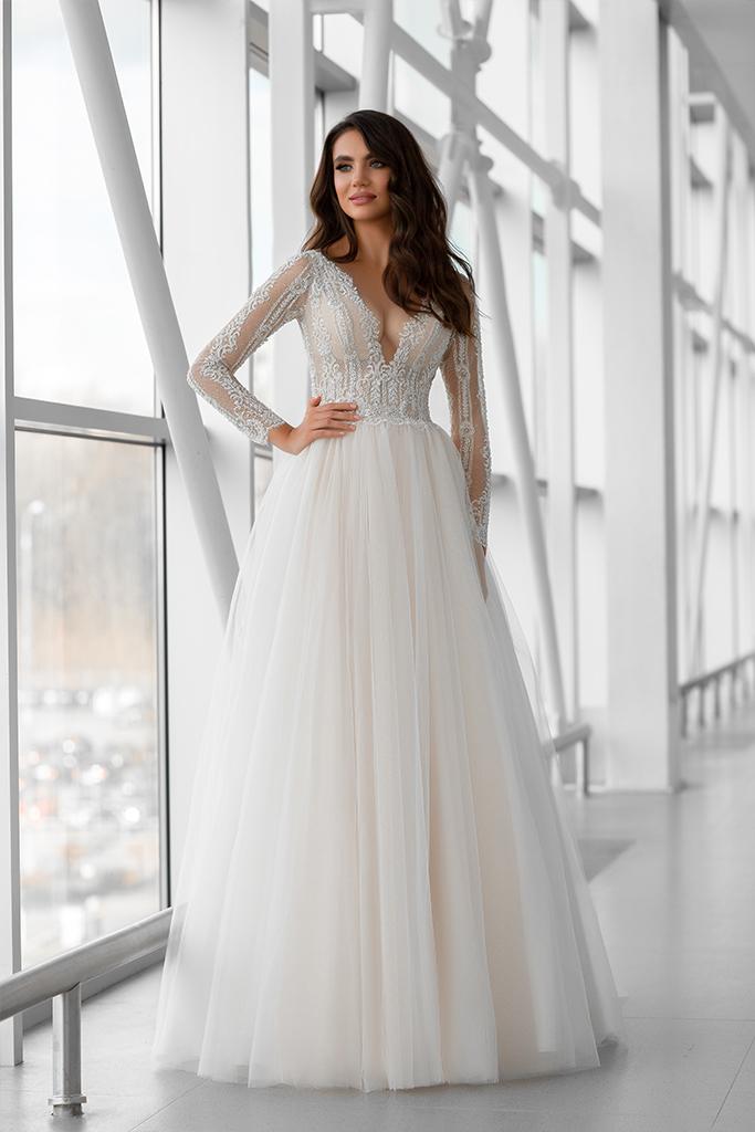 Wedding dress Marlen 侧影  A剪影  颜色   脸红   象牙  切口  甜心形状  袖子   长袖  拖地后襟  有 衣服的可拆卸系 - foto 4
