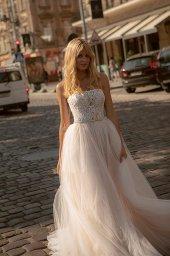 Wedding dress Olivia Silhouette  A Line  Color  Nude  Ivory  Neckline  Straight  Sleeves  Sleeveless  Train  No train - foto 5
