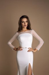 Wedding dress Ornella Silhouette  Sheath  Color  Ivory  Neckline  Straight  Sleeves  Long Sleeves  Train  With train - foto 3