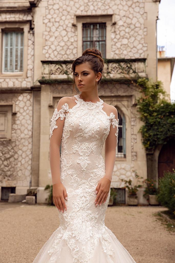 Wedding dress Prima Silhouette  Mermaid  Color  Cappuccino  Neckline  Halter  Sleeves  Long Sleeves  Train  With train - foto 4